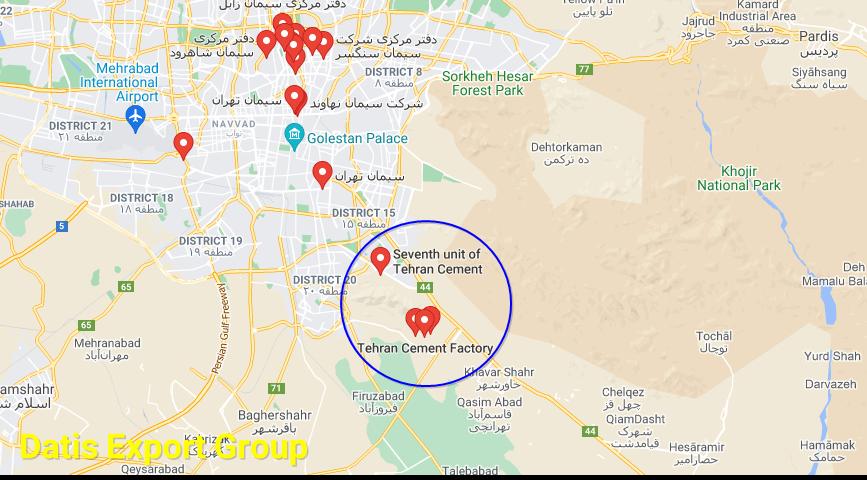 Tehran Cement Factory Address Map in Tehran-IRAN